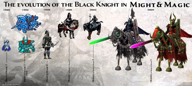 Evolúcia jednotky Black Knight vo svete Might & Magic
