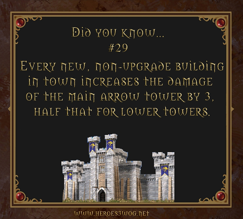 Did You Know #29 Everz new, non/upgrade building in town incrases the damage of the main arrow tower by 3, half that for lower towers.