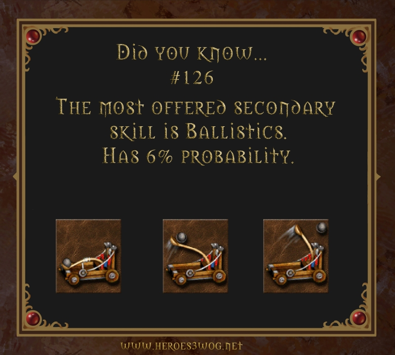 #126 The most offered secondary skill is Ballistics. Has 6% probability.