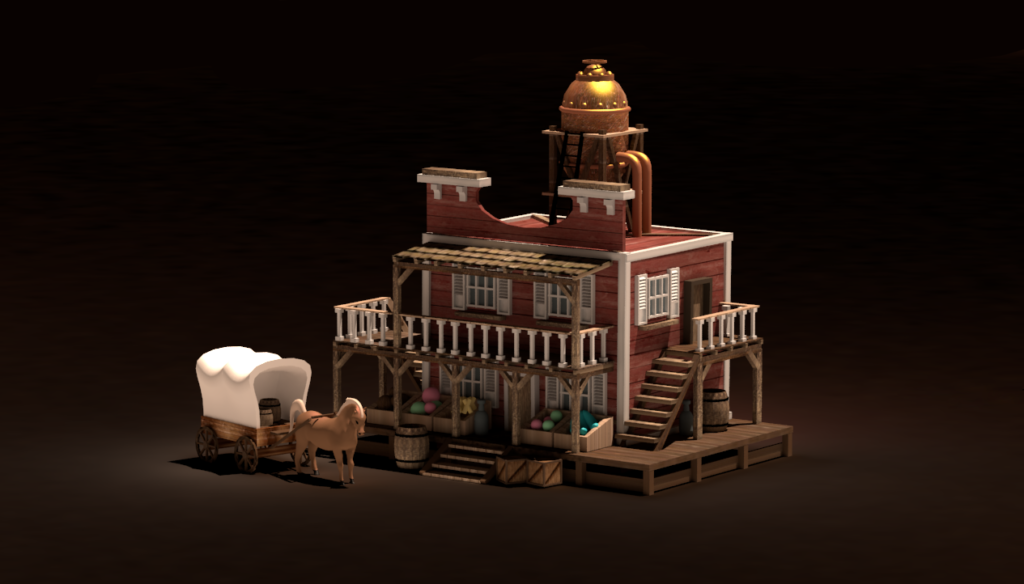 Models of the Marketplace and Resource Silo for the Factory townscreen. By Don_ko