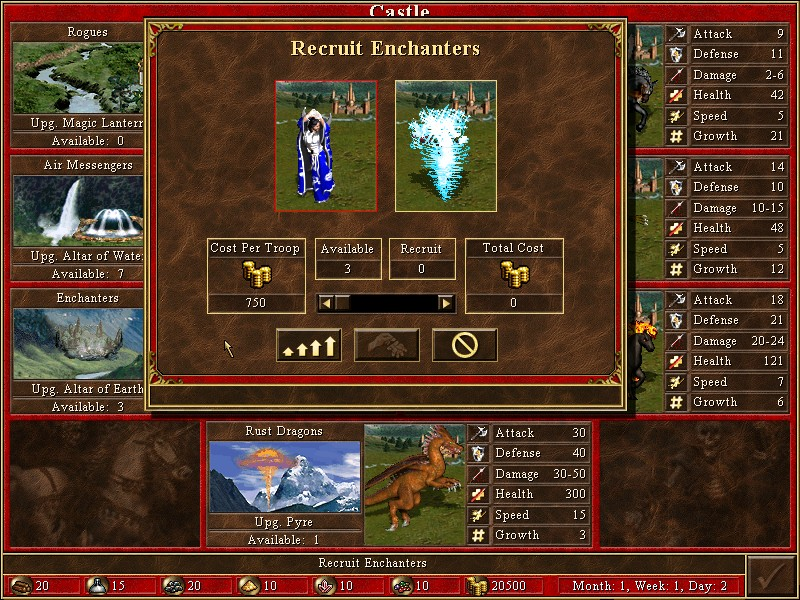 Level 5 non-upgraded: Sorceresses, Level 5 upgraded: Enchanters