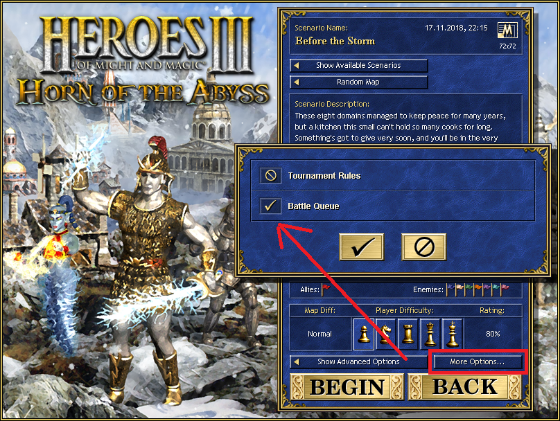 In Horn of the Abyss, you can choose whether to turn this feature on or off before each game.