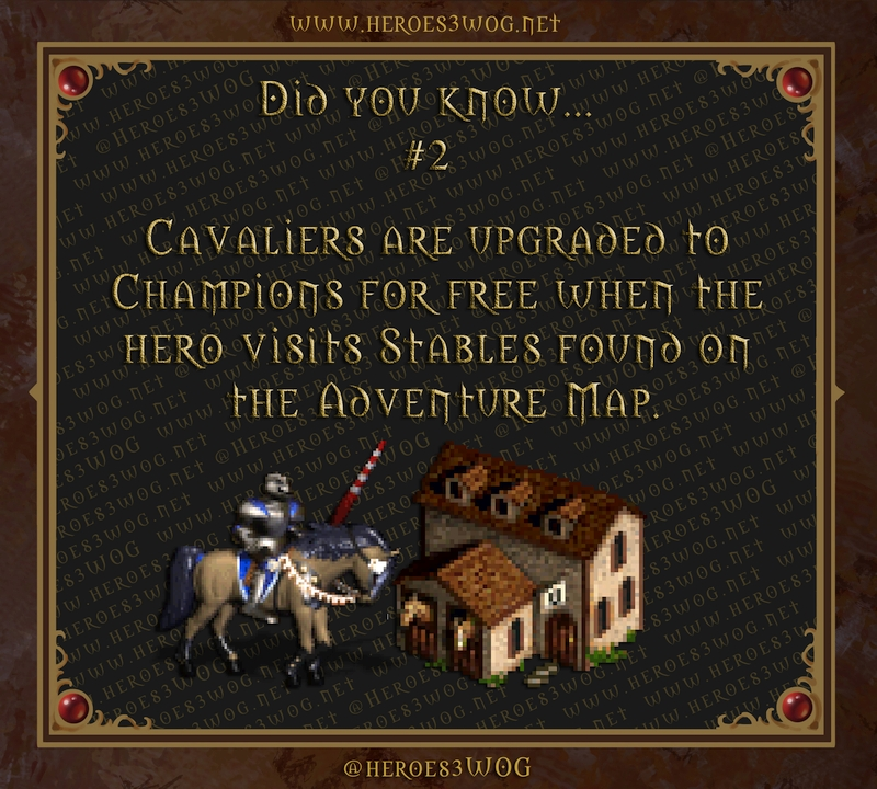 Cavaliers are upgraded to Champions for free when the hero visits Stables found on the Adventure Map.
