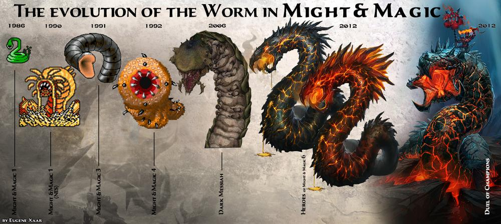 Worms in various Might & Magic games, from the might-and-magic.ru website