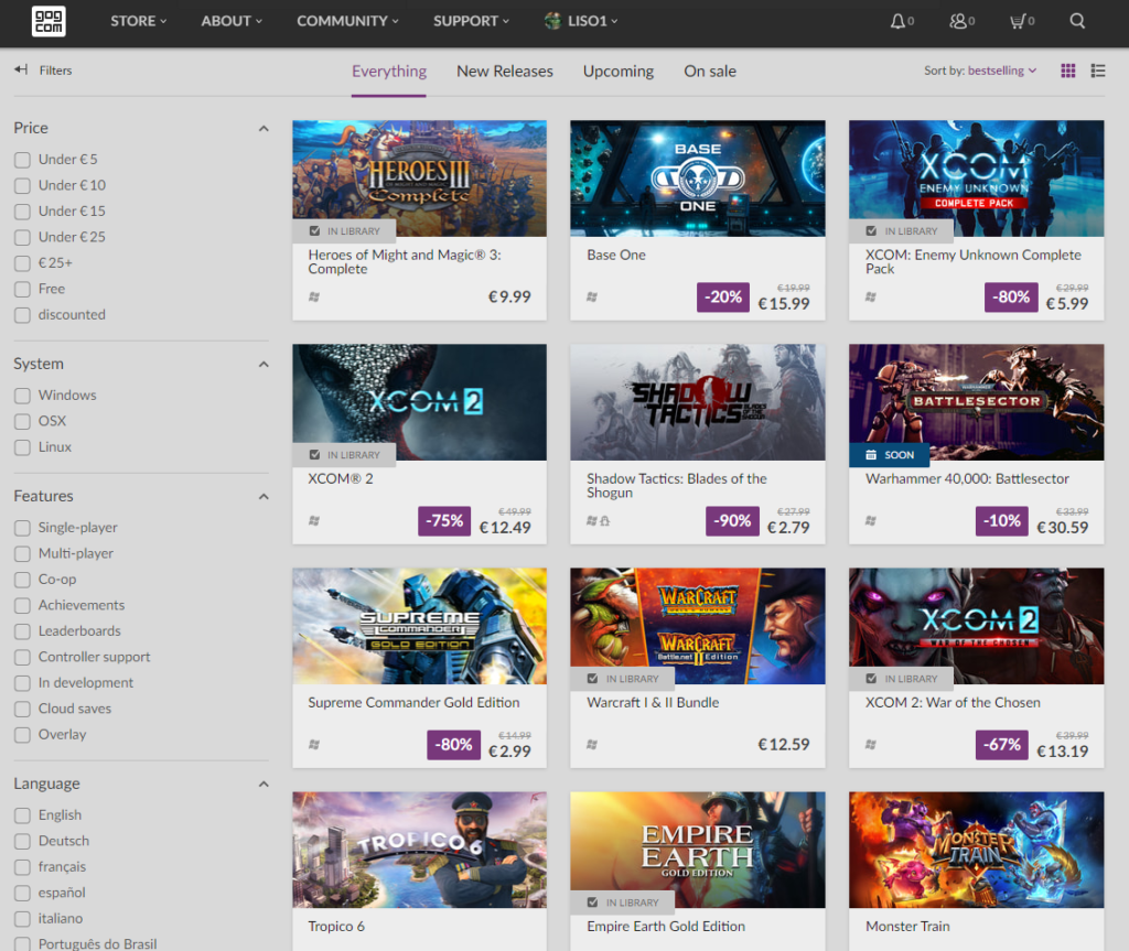 Browse GOG store